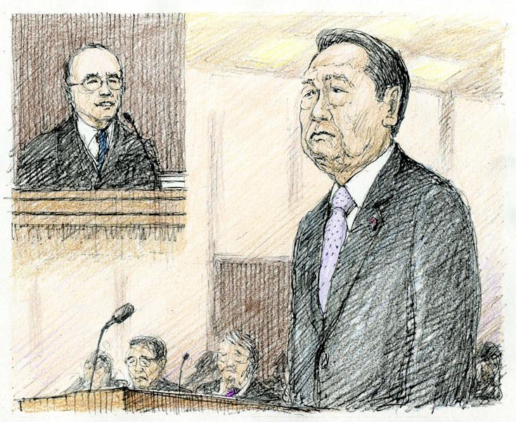 In this courtroom sketch, Democratic Party of Japan's veteran Ichiro Ozawa listens as the chief judge hands down a not guilty verdict at the Tokyo District Court in Tokyo Thursday, April 26, 2012. Ozawa was acquitted Thursday in a political funding scandal that has damaged his chances of becoming prime minister. (AP Photo/Kyodo News, Tennen Katsuyama) JAPAN OUT, MANDATORY CREDIT, NO LICENSING IN CHINA, FRANCE, HONG KONG, JAPAN AND SOUTH KOREA