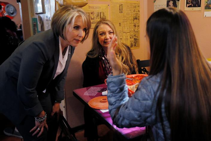 Democratic candidate for governor Michelle Lujan Grisham greets diners at Barelas Coffee House on midterm elections day in Albuquerque, New Mexico, U.S., November 6, 2018.   REUTERS/Brian Snyder