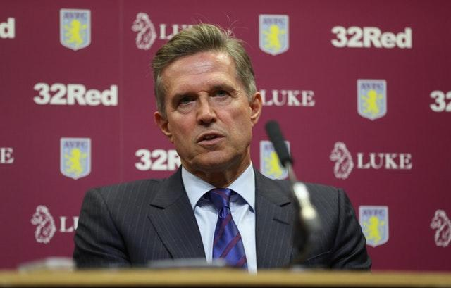 Aston Villa chief executive Christian Purslow expects to see a real improvement (Mike Egerton/PA)