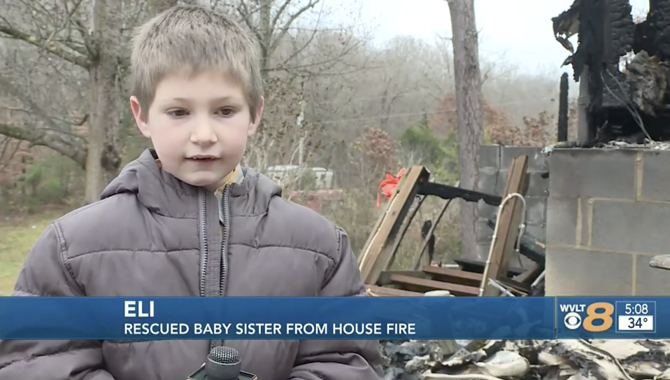 Seven-year-old Eli saved his baby sister from a house fire. Source: WVLT