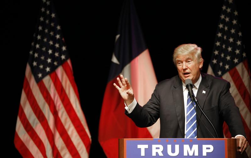 Donald Trump speaks on June 16, 2016 at Gilley's in Dallas, Texas. (Photo by Ron Jenkins/Getty Images)