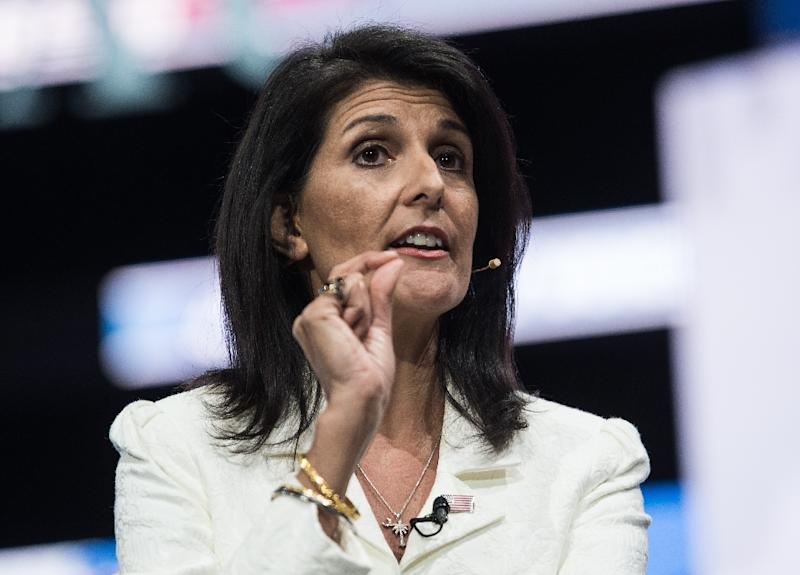 US Ambassador to the United Nations Nikki Haley tells a news conference that she has no ambition beyond her current post at the United Nations, for the time being