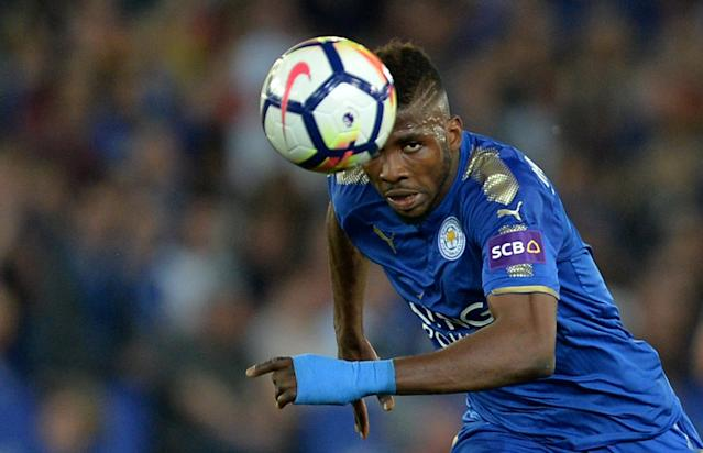 """Soccer Football - Premier League - Leicester City vs Southampton - King Power Stadium, Leicester, Britain - April 19, 2018 Leicester City's Kelechi Iheanacho in action REUTERS/Peter Powell EDITORIAL USE ONLY. No use with unauthorized audio, video, data, fixture lists, club/league logos or """"live"""" services. Online in-match use limited to 75 images, no video emulation. No use in betting, games or single club/league/player publications. Please contact your account representative for further details."""
