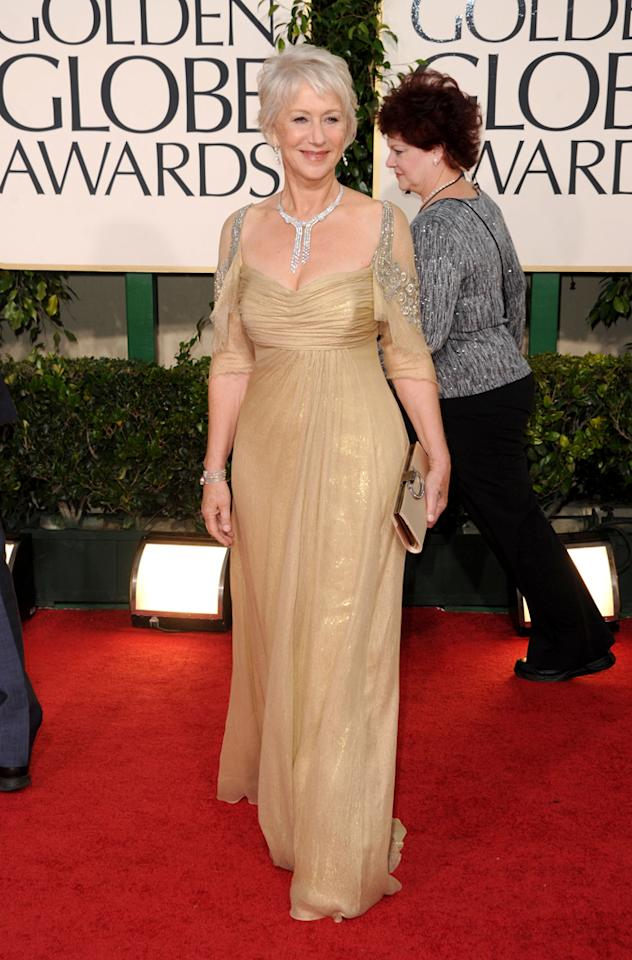 In 2011, Helen Mirren ruled the Globes red carpet in a Badgley Mischka gown and $1.6 million Cartier diamond necklace.