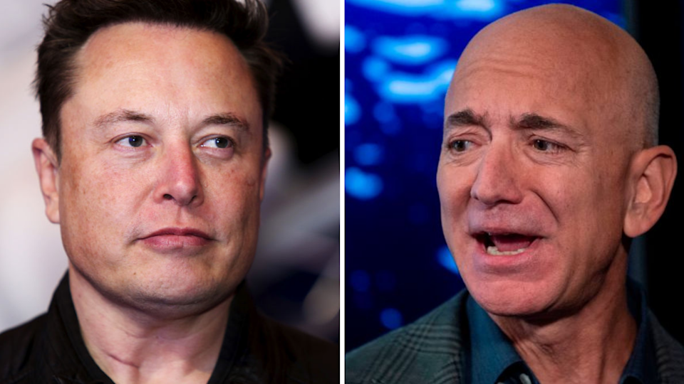 Elon Musk and Jeff Bezos are in a space battle. (Images: Getty).