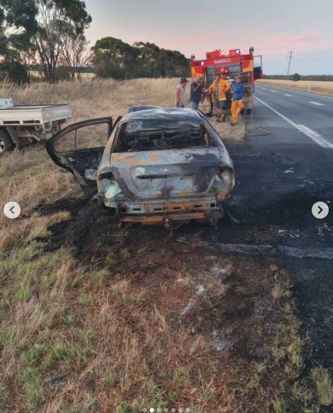 Burnt car image side of road MAFS Seb and Lizzie car accident