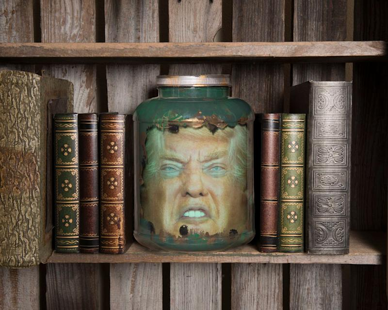 "Some people would like Trump's head on a silver platter. Would you settle for a jar? This decorative jar makes it look like you have a <a href=""http://www.littlejarsofhorror.com/content/product.aspx?cartCode=Q859LHSZ6Y7TC"" target=""_blank"">life size Trump head sitting on your desk.</a> Since many people think he's lost his head, ($25, LittleJarsOfHorror.com)"