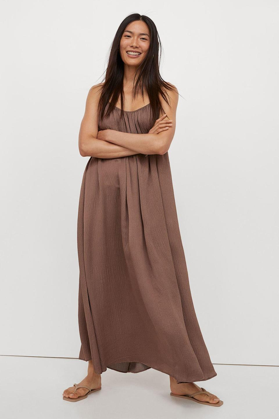 <p>Whether you're looking to impress a first date or you're on your third one with someone you like, this <span>Long Silk-blend Dress</span> ($149) will be sure to get noticed. Finish the look with some kitten heels and a small shoulder bag.</p>