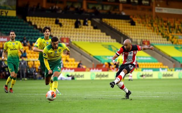 Former Canaries player Nathan Redmond completed the scoring with this shot (PA)
