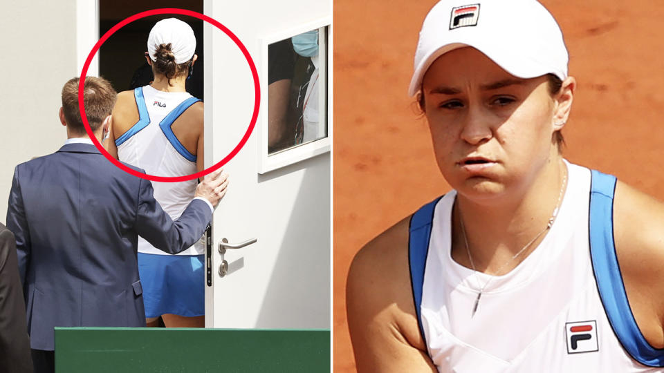 Ash Barty, pictured here leaving the court during a medical timeout at the French Open.