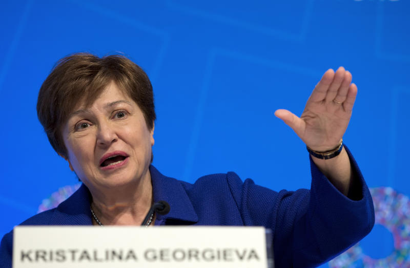 International Monetary Fund Managing Director Kristalina Georgieva speaks during a news conference after the International Monetary and Financial Committee (IMFC) meeting, at the World Bank/IMF Annual Meetings in Washington, Saturday, Oct. 19, 2019. (AP Photo/Jose Luis Magana)
