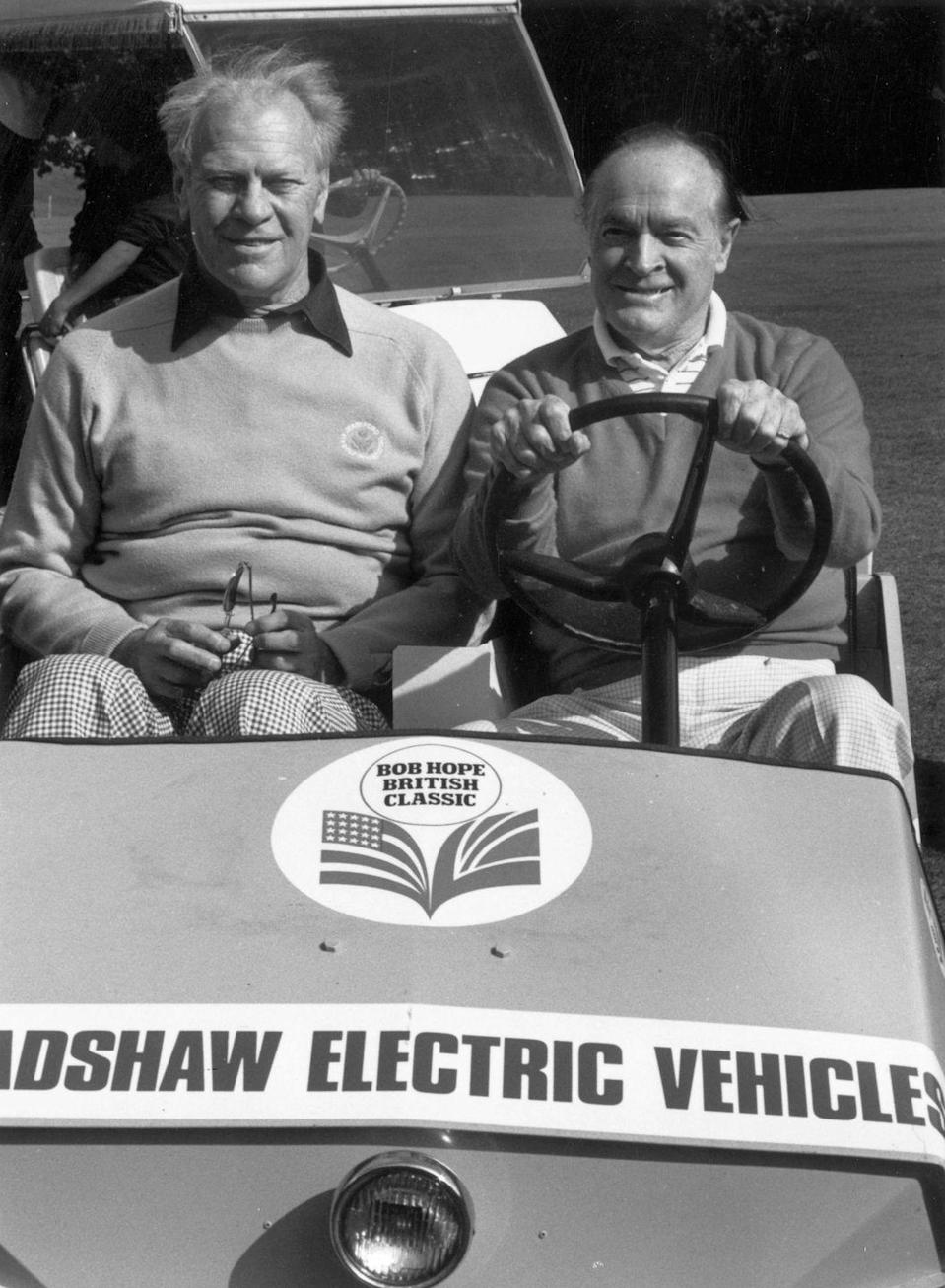 <p>President Gerald Ford was pictured being chauffeured around the golf course by comedian Bob Hope. </p>