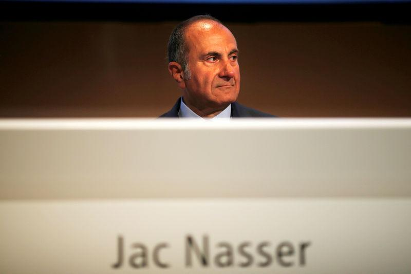FILE PHOTO: BHP Chairman Jac Nasser sits before the company's Australian annual general meeting in Sydney