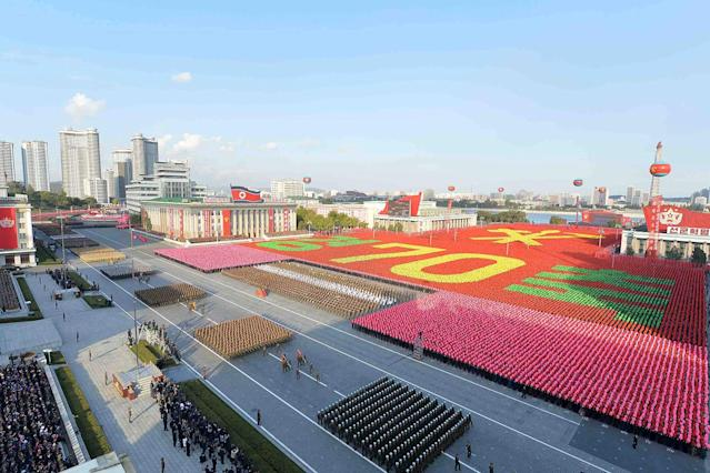 <p>North Korean military participate in the celebration of the 70th anniversary of the founding of the ruling Workers' Party of Korea, Oct. 11, 2015. (KCNA/Reuters) </p>