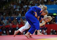 Kayla Harrison of the United States (white) and Gemma Gibbons of Great Britain compete in the Women's -78 kg Judo on Day 6 of the London 2012 Olympic Games at ExCeL on August 2, 2012 in London, England. (Photo by Laurence Griffiths/Getty Images)