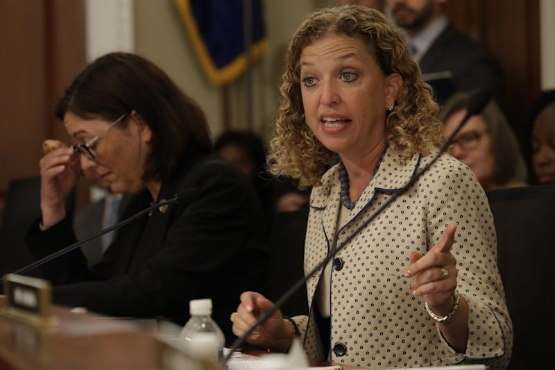 House Budget Committee member Rep. Debbie Wasserman Schultz, D-Fla. questions Budget Director Mick Mulvaney on Capitol Hill in Washington on May 24, 2017. (Photo: Jacquelyn Martin/AP)