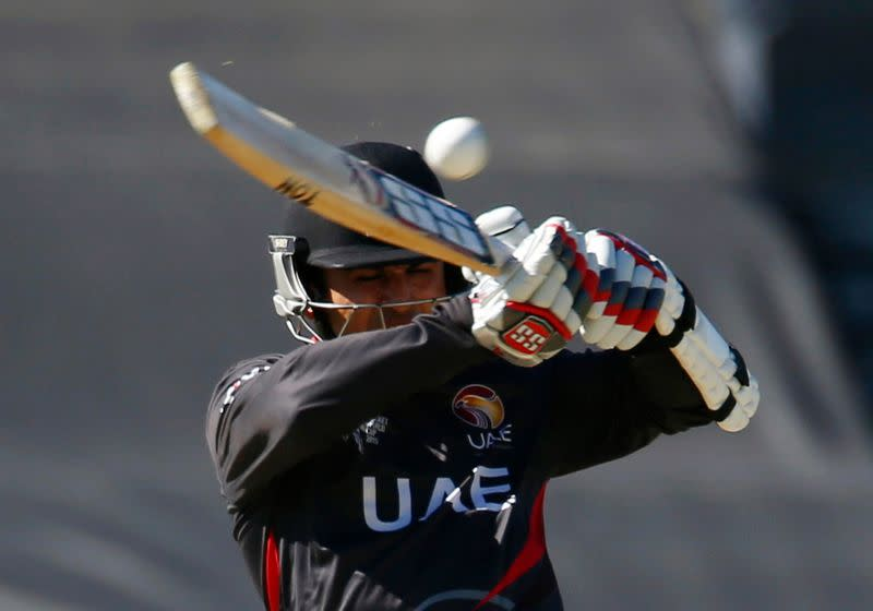 FILE PHOTO: UAE's Shaiman Anwar plays a high hook shot during his Cricket World Cup match against India in Perth