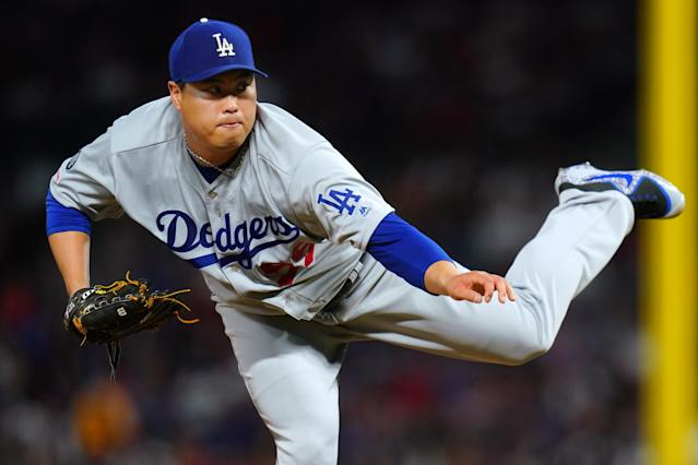 "<a class=""link rapid-noclick-resp"" href=""/mlb/players/9317/"" data-ylk=""slk:Hyun-jin Ryu"">Hyun-jin Ryu</a> has been arguably the best fantasy pitcher this season — but are those days numbered? (Photo by Masterpress/Getty Images)"