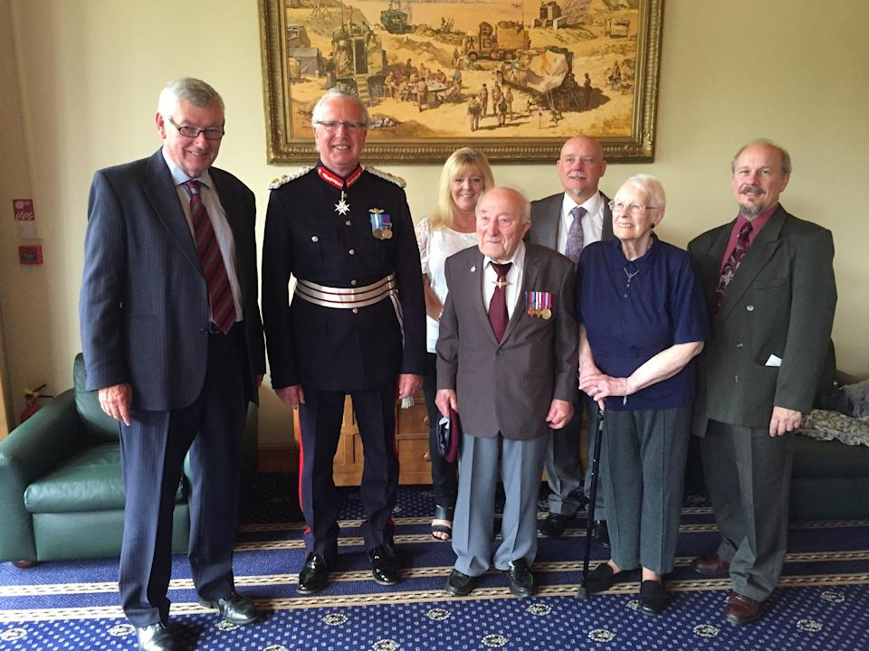 Ernie Aylott at a reception when he received his wartime campaign medals (SSAFA/PA) (PA Media)