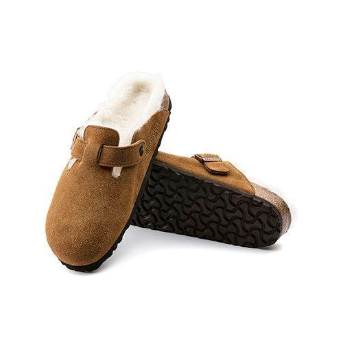 """<p><a class=""""link rapid-noclick-resp"""" href=""""https://www.birkenstock.com/gb/boston-suede-leather/boston-shearling-suedeleather-0-eva-u.html?dwvar_boston-shearling-suedeleather-0-eva-u_color=491"""" rel=""""nofollow noopener"""" target=""""_blank"""" data-ylk=""""slk:SHOP"""">SHOP</a></p><p>There's nothing like a shoe for mooching about at home in, and Birkenstock's sheepskin-lined Bostons are perfect for a soft shoe shuffle.</p><p>£135, Birkenstock</p>"""