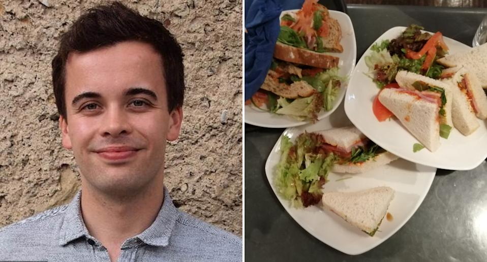 Pictured left is UK bartender Will Dalrymple and on the right is the food he was forced to dump.