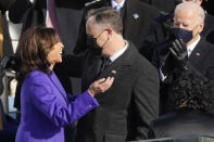 Vice President Kamala Harris hugs her husband Doug Emhoff after being sworn in as vice president by Supreme Court Justice Sonia Sotomayor during the 59th Presidential Inauguration at the U.S. Capitol in Washington, Wednesday, Jan. 20, 2021. (AP Photo/Andrew Harnik)