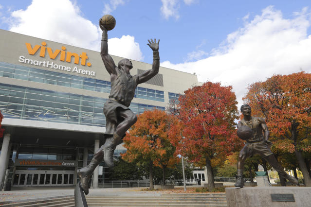 The Vivint Smart Home Arena is shown Wednesday, Oct. 23, 2019, in Salt Lake City. The NBA announced that Salt Lake City has been selected to host NBA All-Star 2023. The 72nd NBA All-Star Game will take place at Vivint Smart Home Arena, home of the Utah Jazz, on Sunday, Feb. 19, 2023. This will mark the 30th anniversary of the 1993 NBA All-Star Game played in Salt Lake City. (AP Photo/Rick Bowmer)
