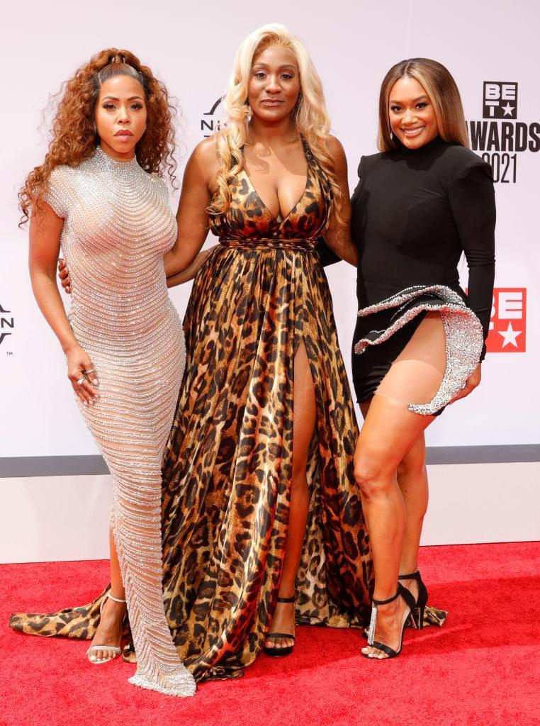 (L-R) KJ Smith, Mignon, and Crystal Hayslett attend the BET Awards 2021