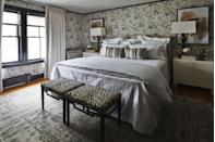 """<p>To showcase her Southern roots and her Asian heritage, designer <a href=""""https://www.christydavisinteriors.com/"""" rel=""""nofollow noopener"""" target=""""_blank"""" data-ylk=""""slk:Christy Davis"""" class=""""link rapid-noclick-resp"""">Christy Davis</a> leveraged the concept of yin and yang to balance traditional and modern elements as well as masculine and feminine shades and patterns. Davis cites the contrasting wallpapers—a geometric <a href=""""https://www.thibautdesign.com/"""" rel=""""nofollow noopener"""" target=""""_blank"""" data-ylk=""""slk:Thibaut"""" class=""""link rapid-noclick-resp"""">Thibaut</a> paper on the ceiling; a <a href=""""https://www.kravet.com/lee-jofa"""" rel=""""nofollow noopener"""" target=""""_blank"""" data-ylk=""""slk:Lee Jofa"""" class=""""link rapid-noclick-resp"""">Lee Jofa</a> floral on the walls—as her favorite element, in part because flowers connote positivity in Chinese culture. The bedding is by <a href=""""https://www.matouk.com/"""" rel=""""nofollow noopener"""" target=""""_blank"""" data-ylk=""""slk:Matouk"""" class=""""link rapid-noclick-resp"""">Matouk</a>, and the curtains are from <a href=""""https://www.theshadestore.com/"""" rel=""""nofollow noopener"""" target=""""_blank"""" data-ylk=""""slk:The Shade Store"""" class=""""link rapid-noclick-resp"""">The Shade Store</a>. <br></p>"""