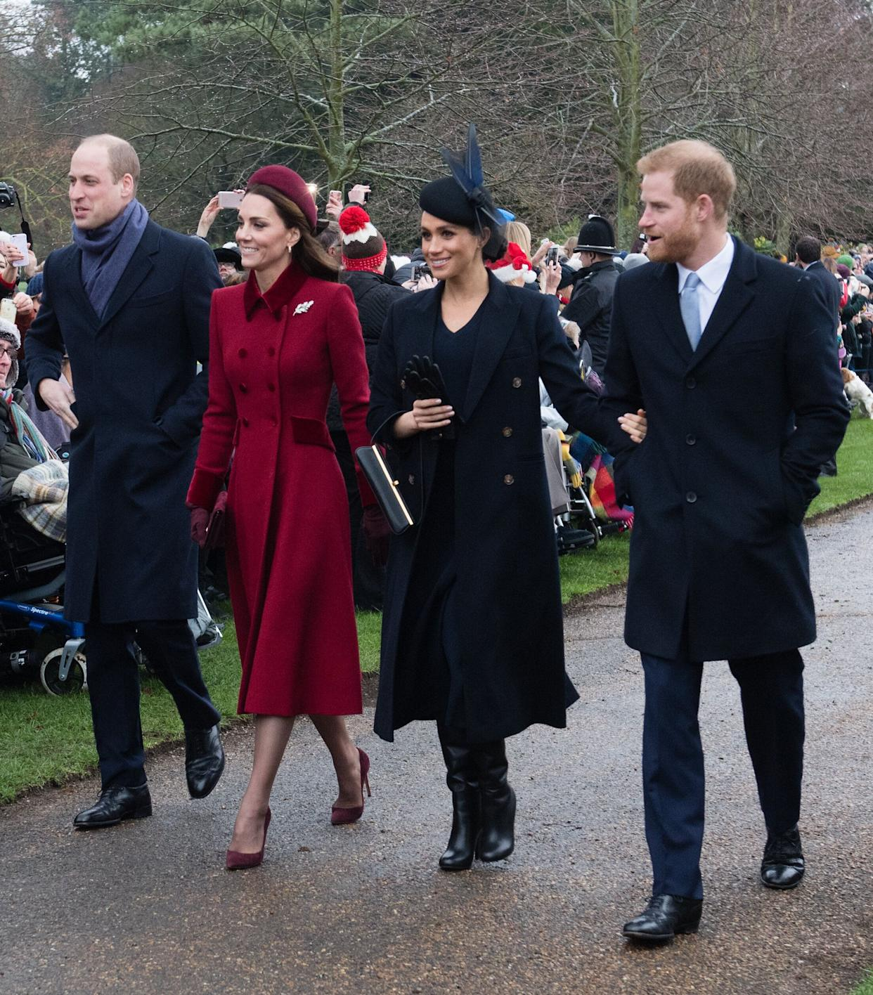 William, Kate, Meghan and Harry attend church service at the Church of St. Mary Magdalene on the Sandringham estate on Dec. 25, 2018, in King's Lynn, England.