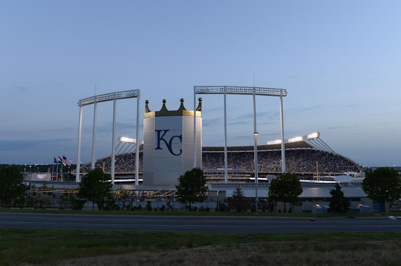 A fan was hit in the face by a foul ball on Saturday night at Kauffman Stadium, which does not yet have extended netting.