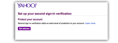 Yahoo Set up your second sign-in verification screen