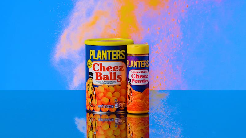 Planters Cheez Balls and Cheez Powder on blue background