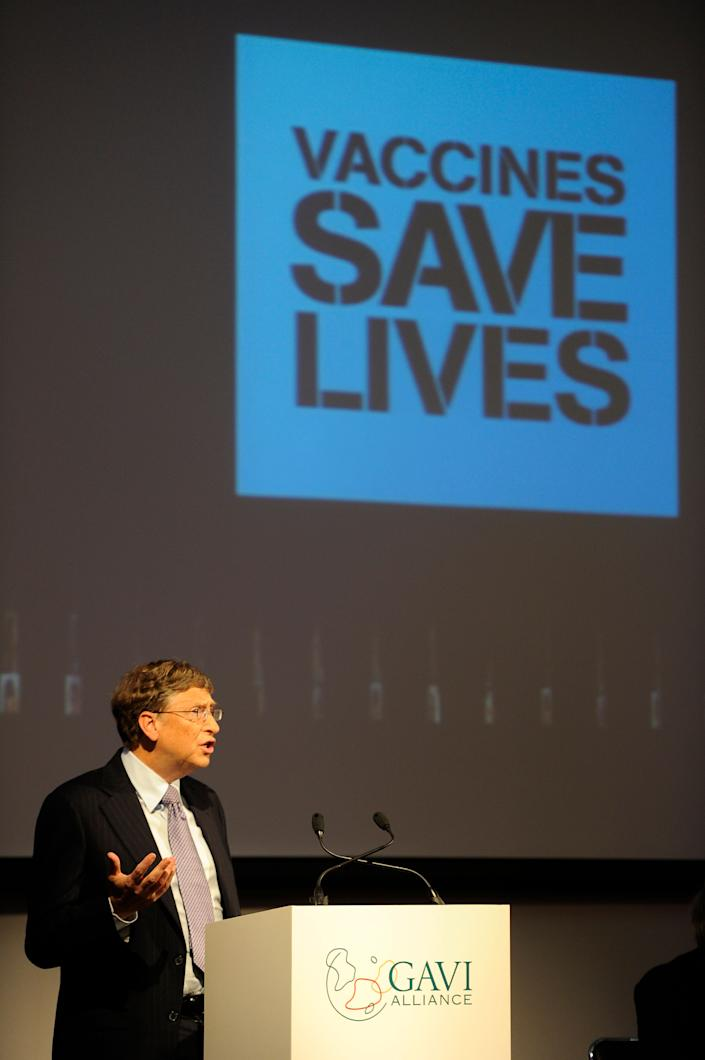 Gates speaking to the Gavi Alliance, a public-private partnership to increase immunization in the world's poorest countries. (Photo: Paul Hackett via Getty Images)