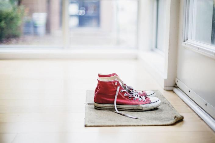 """<p>Want to get the funk out of your favorite kicks? You can <a href=""""https://www.realsimple.com/home-organizing/cleaning/how-clean-smelly-sneakers"""" rel=""""nofollow noopener"""" target=""""_blank"""" data-ylk=""""slk:get your shoes smelling fresh again"""" class=""""link rapid-noclick-resp"""">get your shoes smelling fresh again</a> with detergent and white vinegar, according to <em>Real Simple</em>. If the shoes are machine washable, launder them in warm water with a small amount of detergent and a cup of white vinegar, </p><p>If your shoes aren't machine washable, then try sprinkling a thin layer of baking soda in each shoe until the insoles are completely covered. Then, let it sit overnight and vacuum out the baking soda the next day before wearing. </p>"""