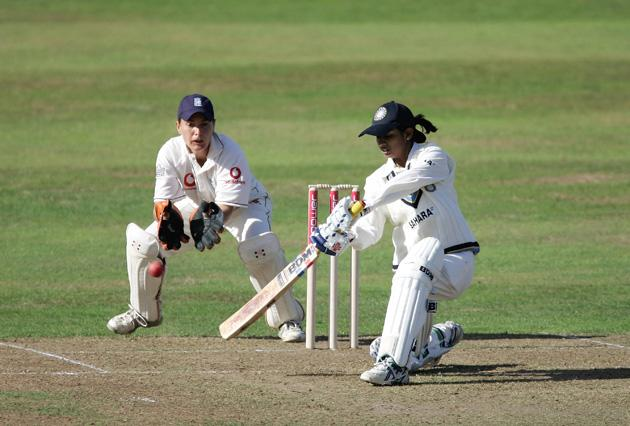 Indian Captain Mithali Raj clips the ball away for four runs during the 2nd npower Test between England Women and India Women at the County Ground on August 29, 2006 in Taunton, England.  (Photo by Richard Heathcote/Getty Images)