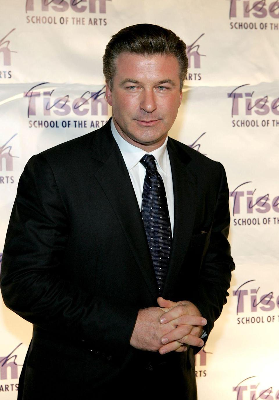 <p>Alec Baldwin wore his dark brown hair in his typical slicked back fashion for the Tisch School of the Arts Annual Gala in 2006. </p>