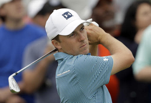 Jordan Spieth watches his shot off the second tee during the final round of the AT&T Byron Nelson golf tournament in Dallas, Sunday, May 20, 2018. (AP Photo/Eric Gay)