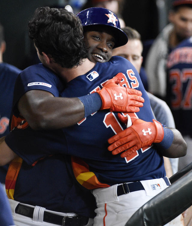 Houston Astros' Yordan Alvarez, right, celebrates his solo home run off Toronto Blue Jays starting pitcher Clayton Richard with Garrett Stubbs during the third inning of a baseball game, Saturday, June 15, 2019, in Houston. (AP Photo/Eric Christian Smith)