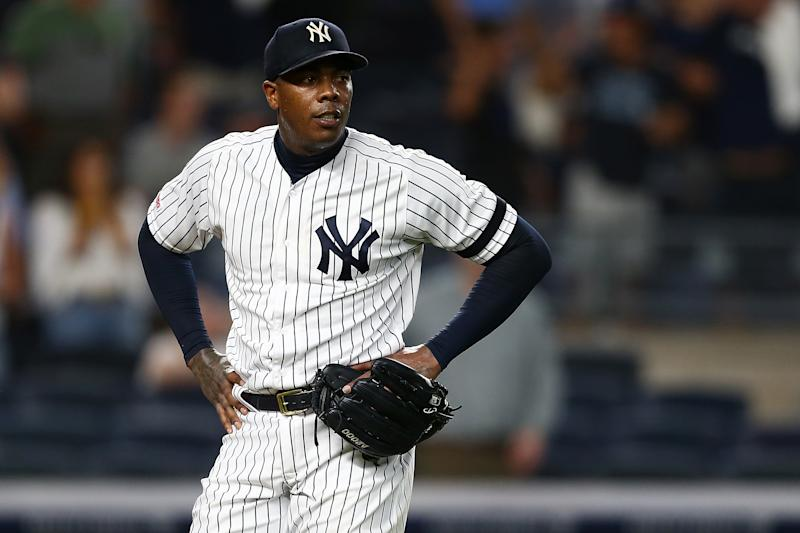 NEW YORK, NEW YORK - JULY 15: Aroldis Chapman #54 of the New York Yankees reacts after giving up a three-run home run to Travis d'Arnaud #37 of the Tampa Bay Rays in the ninth inning at Yankee Stadium on July 15, 2019 in New York City. (Photo by Mike Stobe/Getty Images)