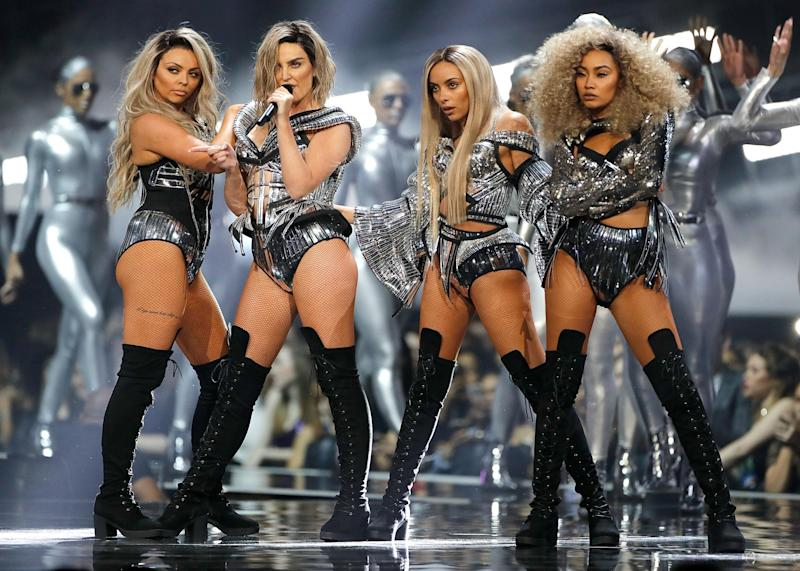 Soldering on: Little Mix's Leigh-Anne burnt her legs before going on stage: Dave Benett