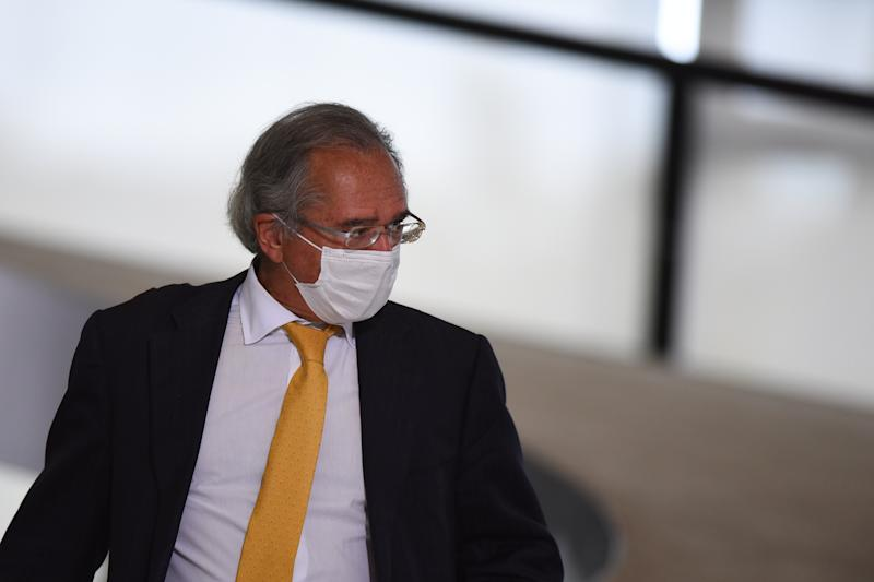 Brazil's Economy minister Paulo Guedes arrives to attend the launching ceremony of a campaign to support rural women at Palace in Brasilia, Brazil, on Wednesday, July 29, 2020. (Photo by Andre Borges/NurPhoto via Getty Images)