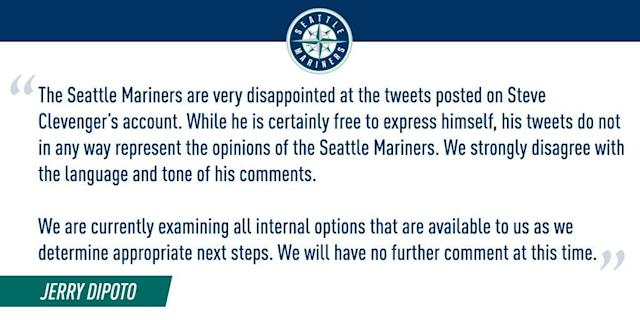 The Mariners' statement about Steve Clevenger's tweets. (@Mariners)
