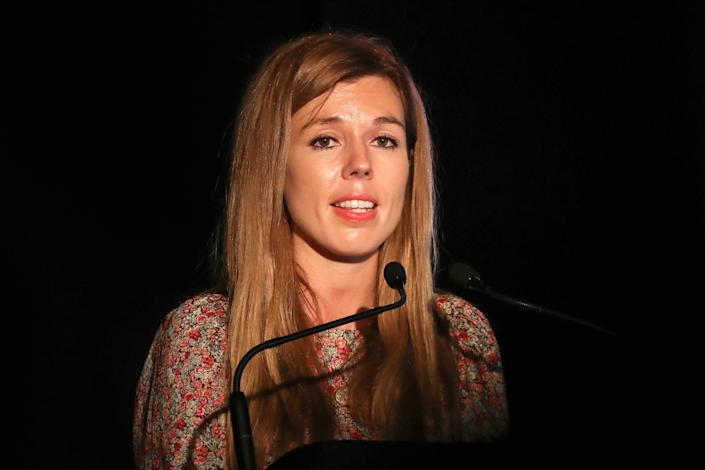 Carrie Symonds delivers a speech at Birdfair, an environmental awareness conference at the Rutland Water Nature Reserve. (Getty Images)