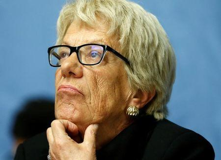 Del Ponte, member of the Independent Commission of Inquiry on the Syrian Arab Republic, attends a news conference in Geneva