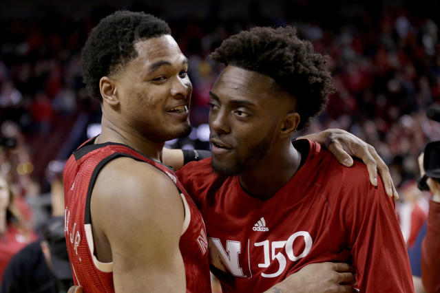Nebraska's James Palmer Jr., left, celebrates with Nana Akenten following an NCAA college basketball game against Minnesota in Lincoln, Neb., Wednesday, Feb. 13, 2019. Palmer made two free throws with 1.1 seconds left to give Nebraska a 62-61 win over Minnesota, ending the Cornhuskers seven-game losing streak. (AP Photo/Nati Harnik)