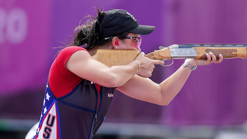 American Kayle Browning competes in the Olympic women's trap competition en route to winning a silver medal in Tokyo.
