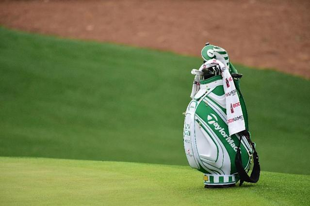 The bag of Dustin Johnson of the United States is seen on the tenth hole during a practice round prior to the start of the 2017 Masters Tournament at Augusta National Golf Club on April 5, 2017 in Augusta, Georgia (AFP Photo/Harry How)