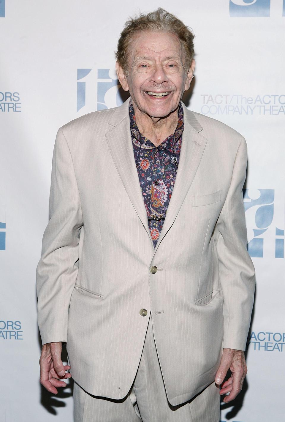 """<p>The actor, whose memorable roles include those on <strong>Seinfeld</strong> and <strong>The King of Queens</strong>, <a href=""""https://www.popsugar.com/celebrity/jerry-stiller-dead-47460162"""" class=""""link rapid-noclick-resp"""" rel=""""nofollow noopener"""" target=""""_blank"""" data-ylk=""""slk:died from natural causes in May"""">died from natural causes in May</a>. His son, <a class=""""link rapid-noclick-resp"""" href=""""https://www.popsugar.com/Ben-Stiller"""" rel=""""nofollow noopener"""" target=""""_blank"""" data-ylk=""""slk:Ben Stiller"""">Ben Stiller</a>, confirmed the news writing, """"I'm sad to say that my father, Jerry Stiller, passed away from natural causes. He was a great dad and grandfather, and the most dedicated husband to Anne for about 62 years. He will be greatly missed. Love you Dad."""" He was 92. </p>"""