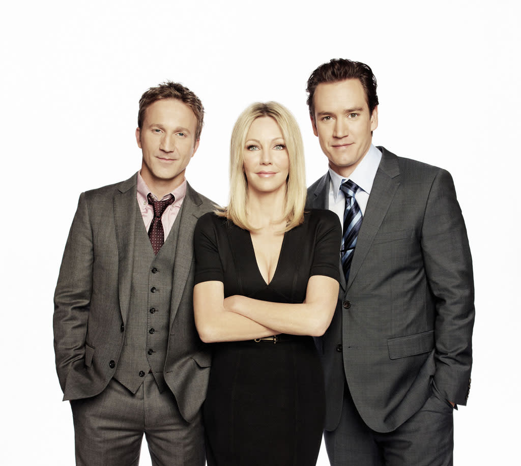"Breckin Meyer, Heather Locklear, and Mark-Paul Gosselaar in Season 3 of TNT's ""Franklin & Bash."""